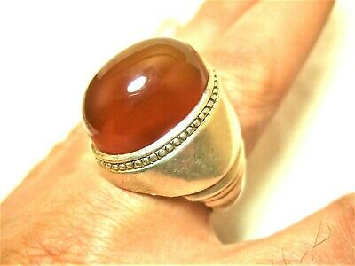 Natural Vintage Yemen Persian Carnelian Aqeeq King SILVER Men Ring 31.9-gm us:12