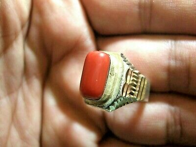 Natural Native tribal natural coral ring 6.57-gm sizes us:8.5