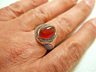 Natural Persian Yemen aqeeq carnelian ring 6.06-gm sizes us:12