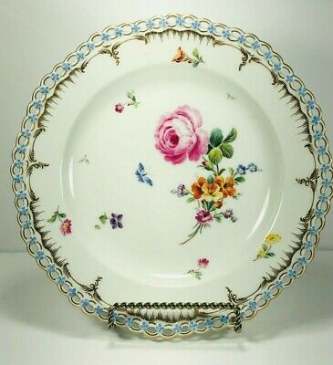 Antique KPM Berlin Dresden Reticulated Cabinet Plate Pink Rose Butterfly