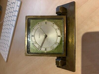 Mappin & Webb Art Deco 1920s brass table folding clock Tiffany Style