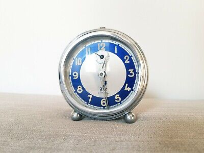 French Art Deco Chrome Alarm Clock Working 1930s Jaz Vintage Blue Dial