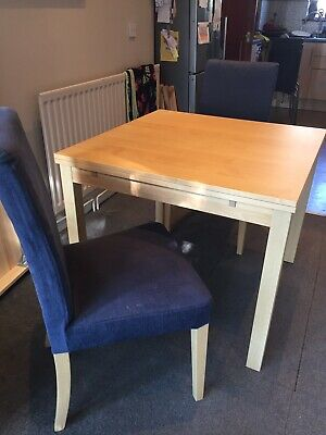 Ikea Bjursta Extendable Dining Table 2 Navy Henriksdal Chairs