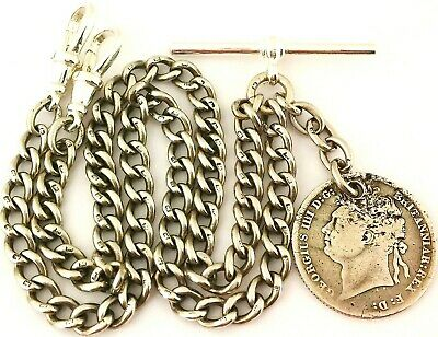 FINE ANTIQUE SOLID SILVER DOUBLE ALBERT POCKET WATCH CHAIN w GEORGE IV COIN 1824