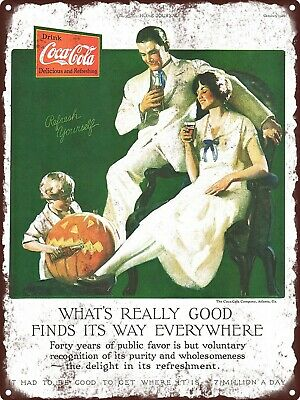 "1926 COCA-COLA Coke Soda Pop Soft Drink Halloween JOL Metal Sign 9x12"" A105"