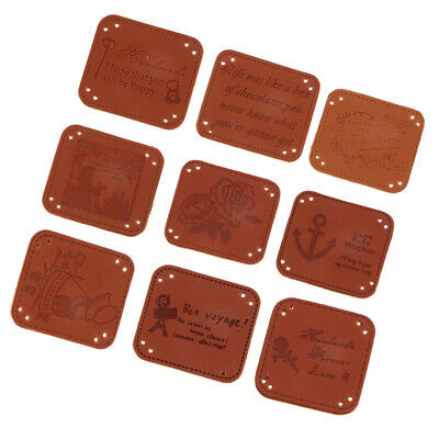 20Pcs PU Leather Labels Handmade Tags DIY Clothing Bag Sewing Craft Supplies