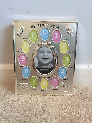 My First Year Baby Pictures Silver Metal Photo Frame/New