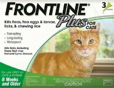 Frontline Plus for Cats 3 Month Supply MERIAL AUTHENTIC FREE SHIPPING USA