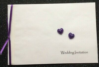 Invitation Personalised Handmade - Ivory or Off White Pearl Card Hearts