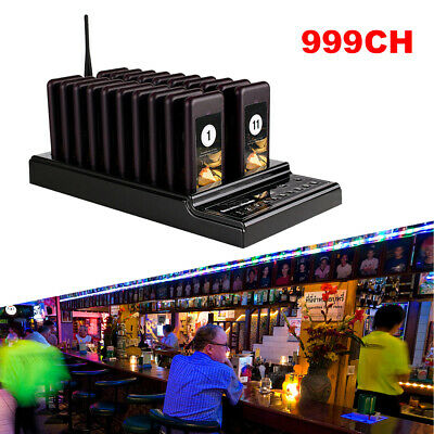 Wireless Paging System Button 999 Channel 1 Transmitter+20 Call Coaster Pagers