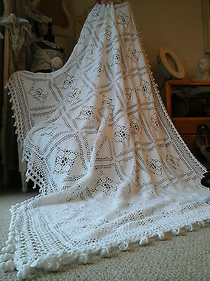 Exquisite Vintage French Textile~WHITE Crochet bed/Bolster coverlet~7.6ft /4.9ft