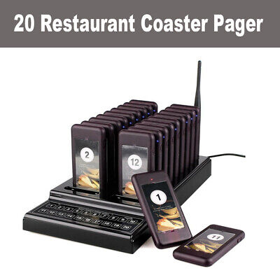 Waiter Queuing Paging Equipment Keypad 20CH 1 Transmitter+20 Call Coaster Pagers