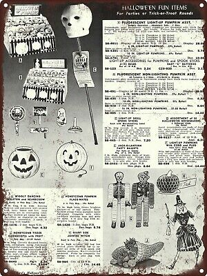 "1964 Halloween Lite up Spook Skull Stick JOL Dancing Witch Metal Sign 9x12"" A109"
