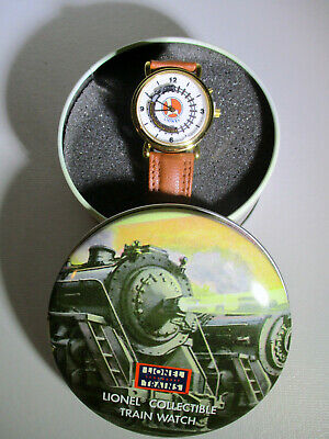Lionel Collectible Moving Train Watch w/ Leather Band in Round Tin