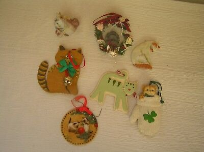 Lot of 7 Kurt S. Adler Painted Wood Porcelain Roman Hallmark Resin Kitty Cat