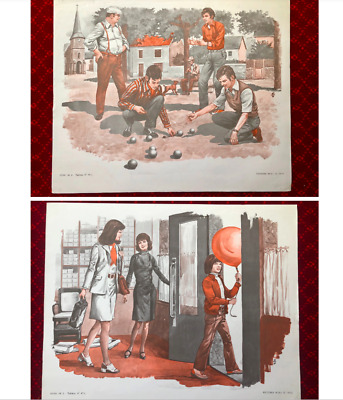 Original 1970s Vintage French school MDI poster BOULES & SHOE SHOP double sided