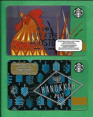 2017 Starbucks Canada Year of Rooster Hanukkah Gift Cards No Value