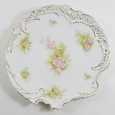 Bavarian China Vintage Original Signed 8 Inch Hand Painted Floral Plate Germany