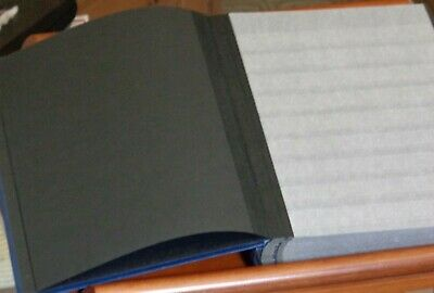 32 BLACK Page Stockbook BLUE Cover 9 Clear Strips  9x12