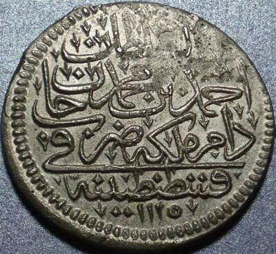 1703 OTTOMAN TURKEY Crown Size SILVER ZOLOTA of CONSTANTINOPLE >Sultan AHMED III
