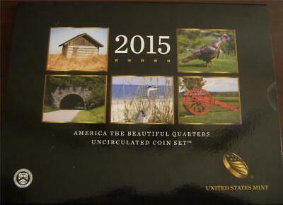 2015 P & D US Mint America the Beautiful Uncirculated 10 Coin Quarter Set - OGP