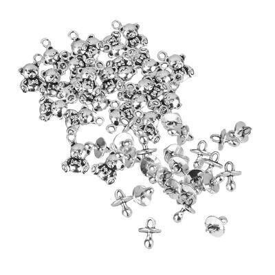 50X 5x10mm Antique Silver Bear 9x13mm Baby Pacifier Charms Pendant DIY Beads