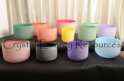 Chakra Tuned Set of 12 Color Frosted Quartz Crystal Singing Bowls 8''-12''