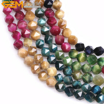 """Faceted Assorted Color Tiger's Eye Loose Beads Of Cambay Jewery Making 15"""" DIY"""