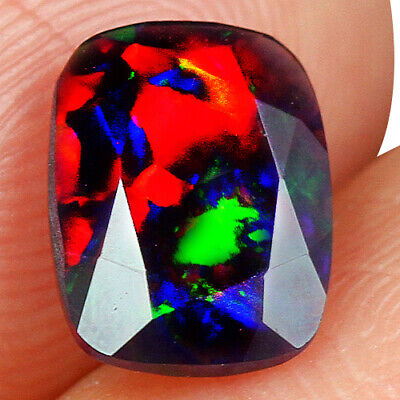 Loose Gemstones 0.7ct Ethiopian Orange Opal Faceted Cut Play Of Color Mqoc320 Jewelry & Watches