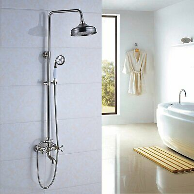 "Rozin Chrome Bathroom 8"" Round Rainfall Shower Faucet Set Tub Mixer Spout Tap"