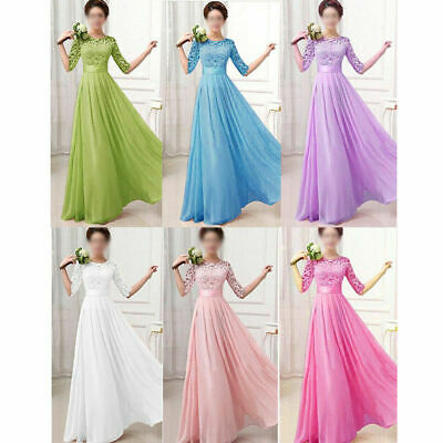 Ladies Long Maxi Lace Dress Evening Cocktail Formal Party Prom Wedding Ball Gown