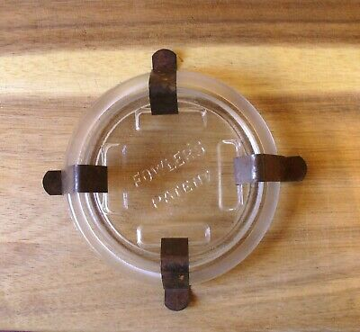 Fowlers Vacola  Preserving Jar Glass Lid with set of VV Clips - Vintage