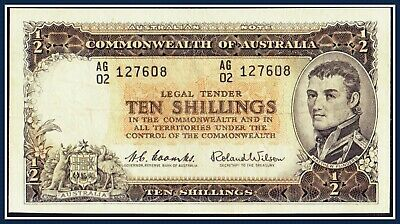 gF 10 Shilling Banknote Coombs/Wilson 1961 AG/02-127608 R-17