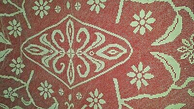 """BEAUTIFUL off white ITALIAN HAND KNOTTED FILET NET LACE TABLECLOTH - 65"""" BY 78"""""""