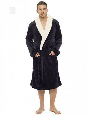 b338b2484d527 Mens Dressing Gown Luxury Super Soft Fleece Robe with Hood Gowns Bathrobe.