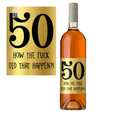 50th Birthday Wine Bottle Label 50 Today Perfect Gift for Her Women Him Men...