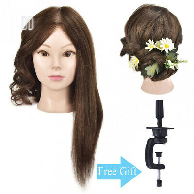 "18"" Training Head 100% Human Hair Mannequin Manikin Doll Styling with Free Clamp"