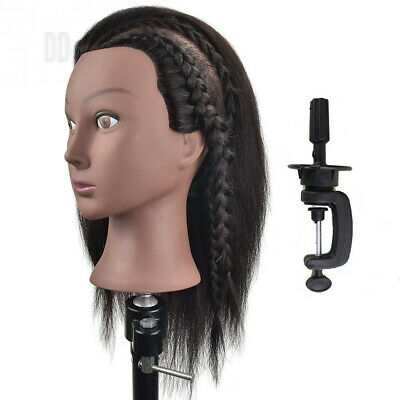 Afro Mannequin Head 100% Real Hair Hairdresser Training Manikin Cosmetology...