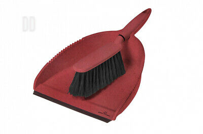 Greener Cleaner Recycled Plastic and Wood Pulp Dustpan Brush, Set of 1, Red