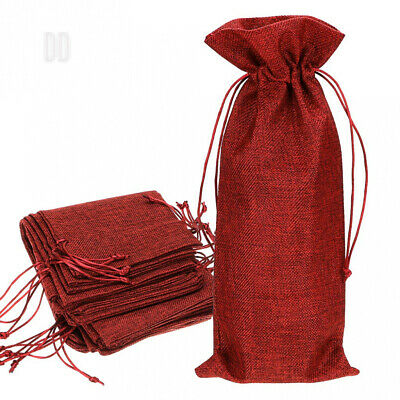 BTSKY 12pcs Reusable Washable Jute Wine Bottle Bags Drawstring Bag - Burlap...