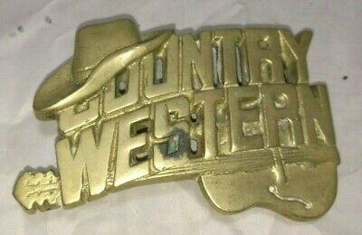 Vintage ~Country Western ~Solid Brass Belt Buckle ~Baron Buckles