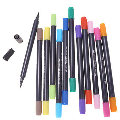 12 Colors Dual Tip Markers Pens W/ Fine Point & Soft Brush Tips Art Supplies