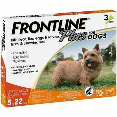 Frontline Plus for Dogs 022 lbs Orange, 3 Month - FREE SHIPPING & NEW