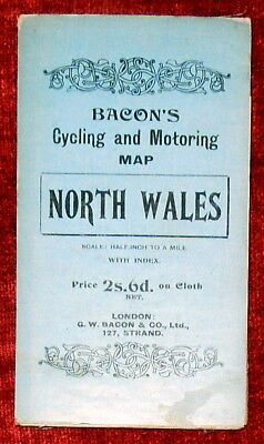 """Bacon's 1"""":2 Miles Linen Backed Dissected Map Of North Wales - 1912"""