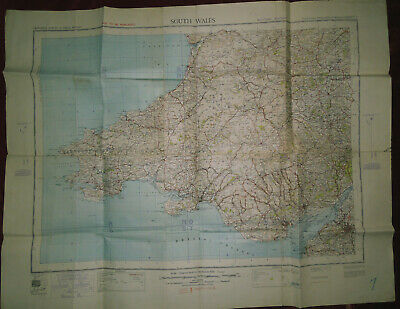 """Ordnance Survey 1/4"""":1 Mile Linen Backed 4Th Ed. Military Map - South Wales 1940"""