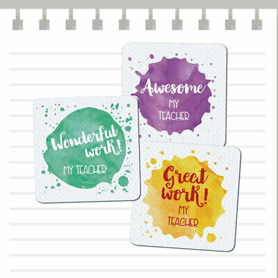 Teacher Merit Stickers - 25mm Square Watercolour Splats theme, Personalised Name