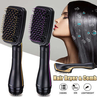 AU 1000W Pro 2 in 1 One Step Hair Dryer Comb Volumizer Brush Straightener Curler
