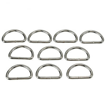 Lots Silver Metal D Ring Webbing Hand Bags Buckles Strapping DIY Acces Supply