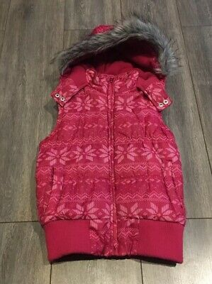 Cerise Pink Gillet With Fur Trimmed Hood Age 8-9 Yrs Good Condition