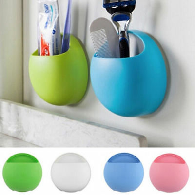 Toothbrush Wall Mount Holder Sucker Suction Cups Organizer Bathroom Storage Box